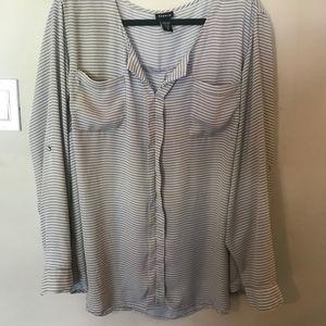 Grey / White striped TORRID flowy top